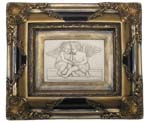Picture-relief Amors reading, gilded marble 1154-2Z 32x37cm