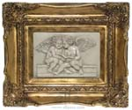 Picture-relief Amors reading, gilded marble 1352-21Z 35x25cm