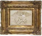 Picture-relief Amors reading, gilded marble 1352-2Z 35x25cm